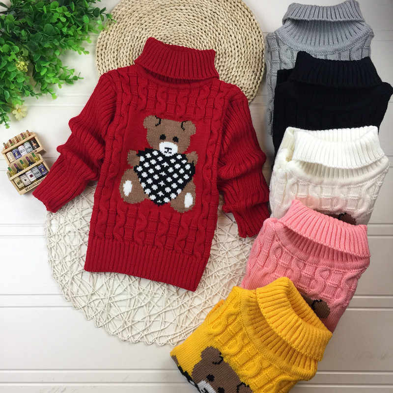 Child Baby Sweater Wool Knitted Turtleneck Pullover Sweater For Kids Boys Girls