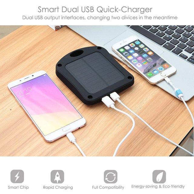 6000 mAh Solar Banco de la Energía Dual USB Portable Power Bank Cargador de Batería Externa con Luz LED CALIENTE