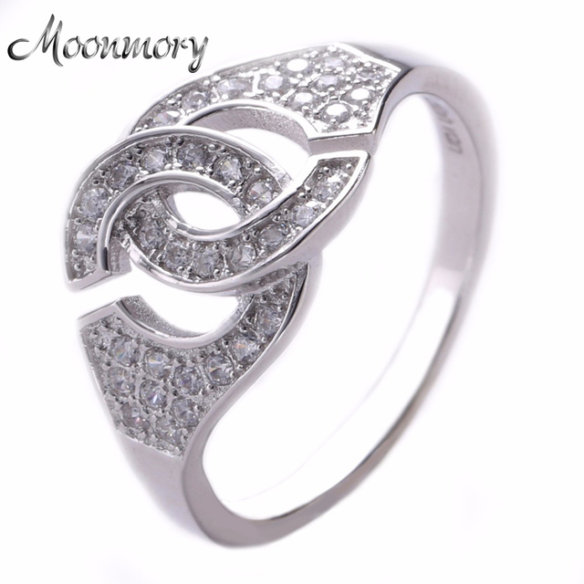 100% Real 925 Sterling Silver Love Handcuffs Ring With Clear Zircon Cute & Romantic Fit For Women Man Wedding Engagement Jewelry