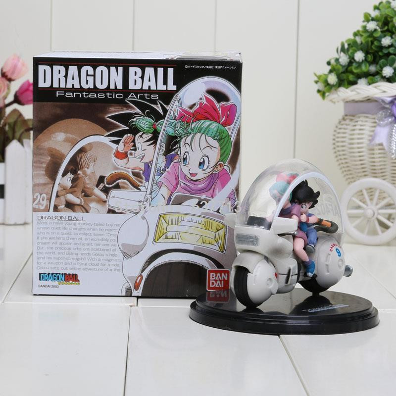 2pcs/lot Dragon Ball Goku+Bulma Action Figure Anime Toy Figurine Dragon Ball Z Son Goku Bulma Moto 8cm ...