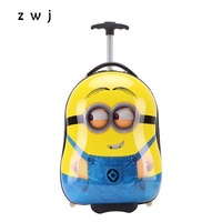 3d Minions cartoon luggage kids travel suitcases trolley bag luggage for kids