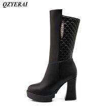 QZYERAI Winter coarse heel medium – tube Martin boots womens boots fashionable womens shoes leisure