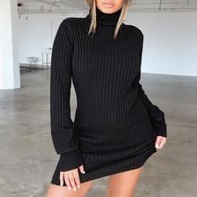 Модный зимний осенний Женский Повседневный джемпер с длинным рукавом, свитер с высоким воротом, платье