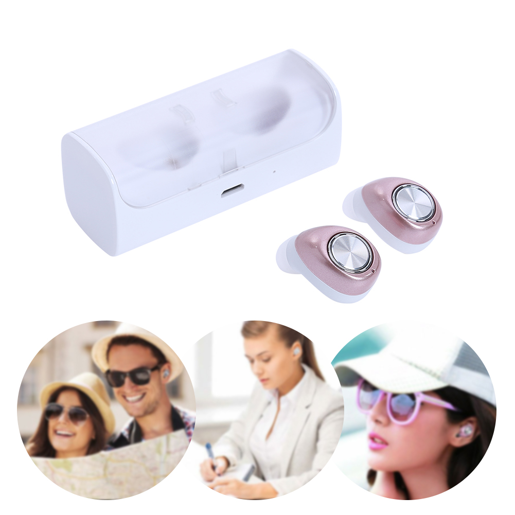 1 Pair Mini In Ear Earbuds Wireless Bluetooth Stereo Earphone Sports Running Earpiece Support 2 Bluetooth Device+Charging Box 2 in 1 wireless bluetooth earphone