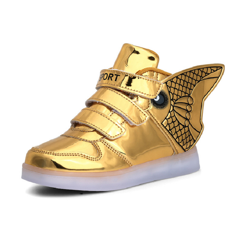 LED Shoes Fashion Leisure Kids Shoes With Wings Winter Boys Shoes Girls Glowing Sneakers Non-slip Bottom tretorn tretorn wings kids 2620841