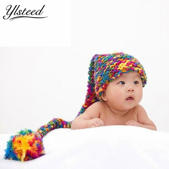 92a42060c40 Long Tail Cartoon Baby Hat Tie Dye Crochet Baby Cap Knitted Baby Winter Hats  Ball Newborn Photography Props Photoshoot Props