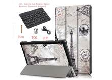 Sleep Wake Painted Keyboard Case For Lenovo Tab E10 X104F Tablet Ultra Slim stand PU Leather Bluetooth Keyboard cover +pen(China)