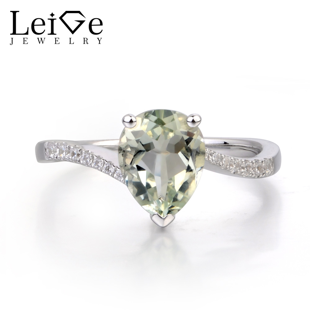 Leige Jewelry Natural Green Amethyst Ring Sterling Silver 925 Pear Shaped Engagement Promise Rings for Women Gemstone Jewelry leige jewelry pear shaped engagement rings for women lab alexandrite promise ring sterling silver 925 fine jewelry pear gemstone