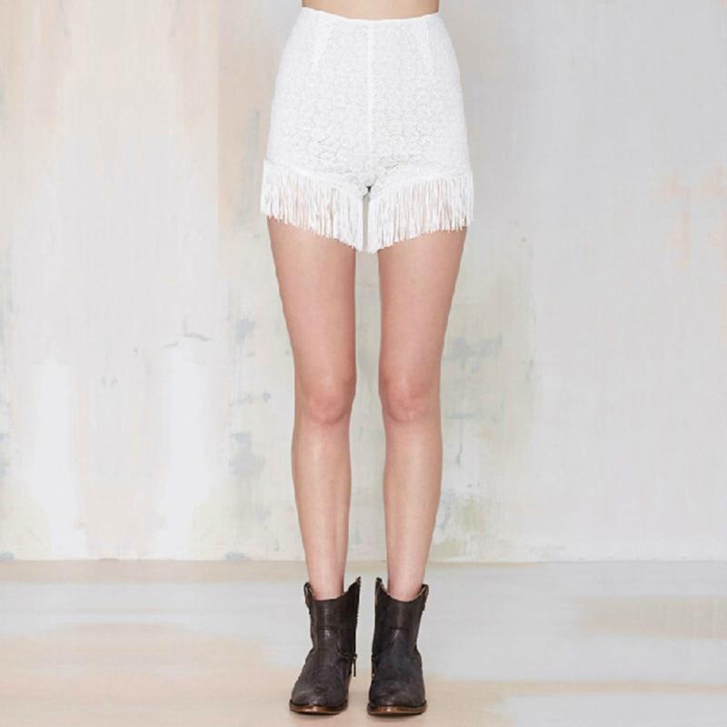 Quaste Fringe Frauen Shorts Punk Stil Shorts 2017 Sommer Hohe Taille Asymmetrische Weiblich Spitze Shorts Weiß SM15XDK05