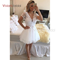 White Color Fashion Arrival Short Sleeve Lace Cocktail Dress A-line Beadings Knee Length Cocktail Dress
