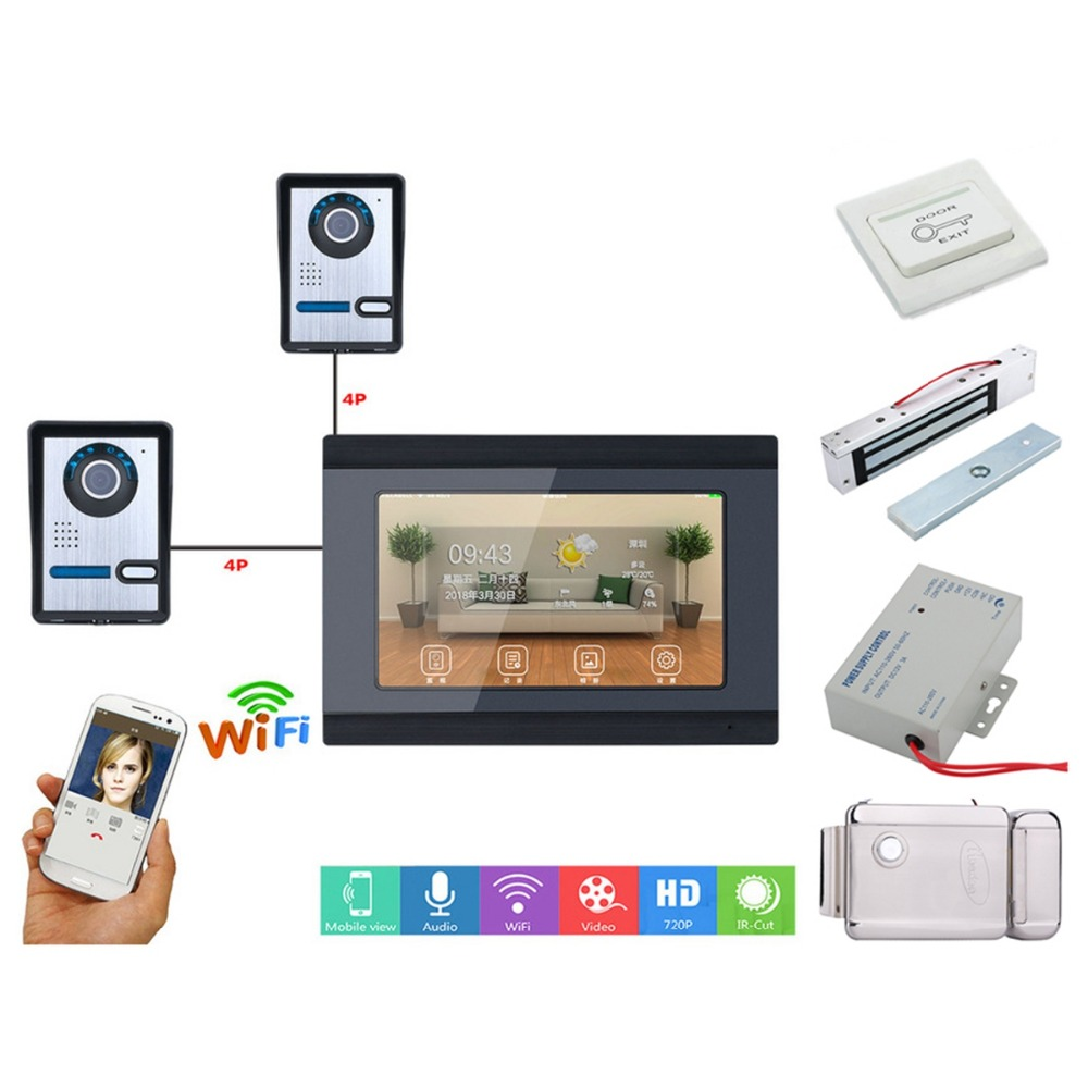 Home Set 7inch Wired Wifi IP Video Door Phone Doorbell Intercom Entry System With 2xHD Wired Camera +Electric Lock