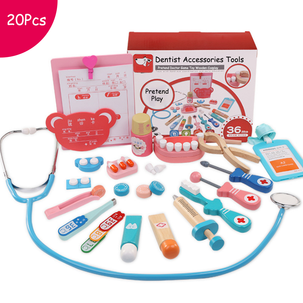 20 Pcs/set Dentist Accessories Tools Toys Kids Pretend Play Doctor Nurse Wooden Cosplay Simulation Children Doctors Game Toys