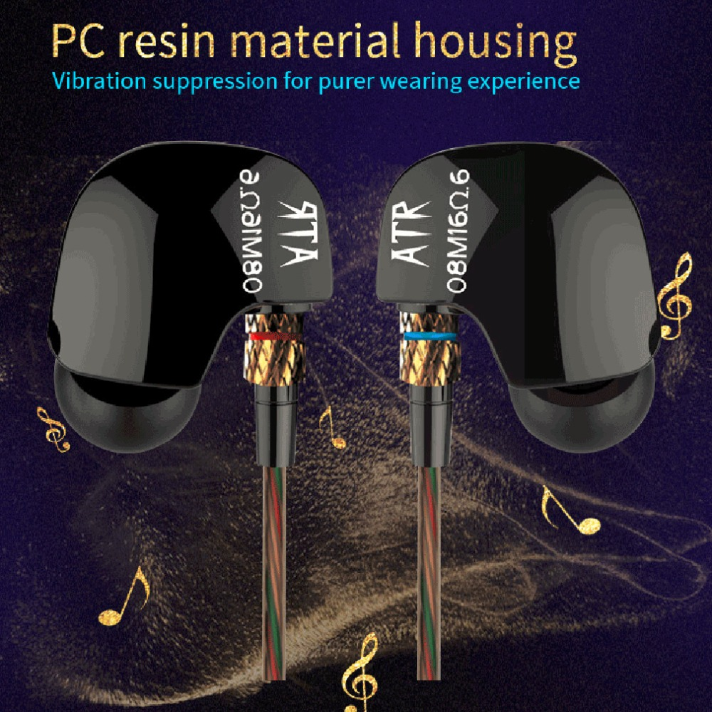 Original KZ HiFi Sport Headset ATE ATR Copper Driver 3.5mm In Ear Earphones Stereo Super Bass Noise Isolating With Microphone