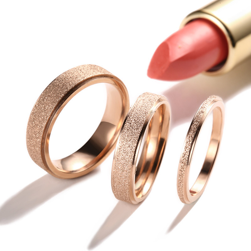 2mm4mm6mm frosted rose gold titanium steel wedding band rings for women men stainless steel ring anel fashion jewelry r211