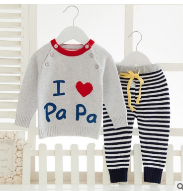 2017 Baby Girl Boy Knitted Autumn Sweater Kids Knitting Outwear Long Sleeve Baby Clothes Clothing 2Pieces(Tops+Pants)
