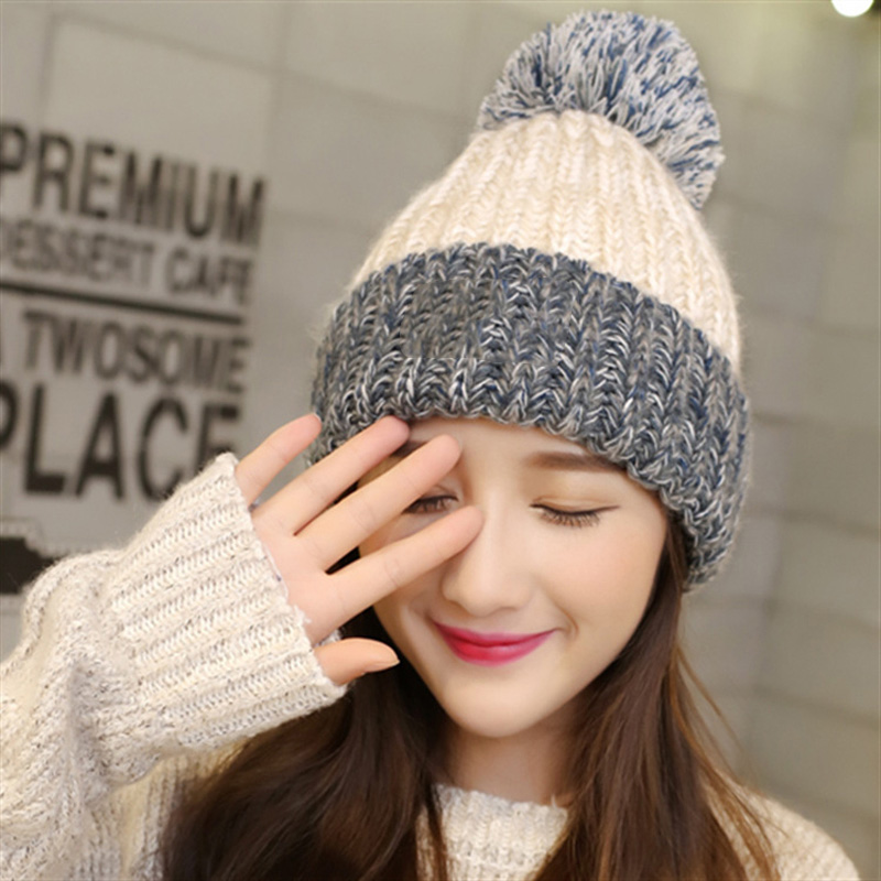1pcs Woman's Warm Winter Hats Knitted Cap for Woman Hats Skullies Beanies Bonnet Femme Gorros Mujer Autumn Hat Bone Feminino knitted winter warm female hat rabbit fur printed cap woman chunky baggy cap skull gorros de lana mujer bonnet femme beanie cap