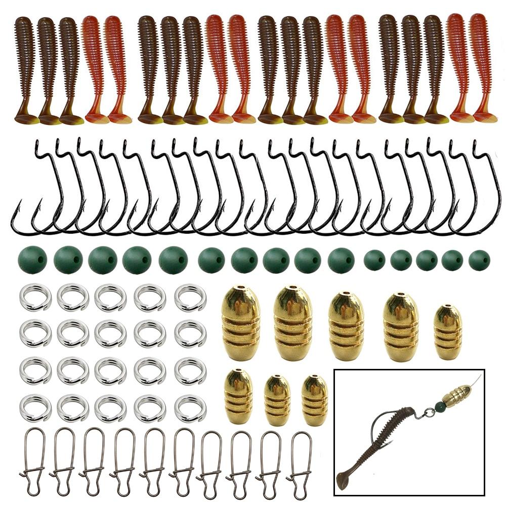 Fishing Sinkers Set Brass Sinker Weights Jig Hook Swivel Ring Connector
