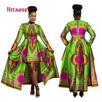 Hitarget 2018 African Dresses for Women Dashiki Cotton Wax Print Batik Sexy Long Dress for Femal Traditional clothing WY1268