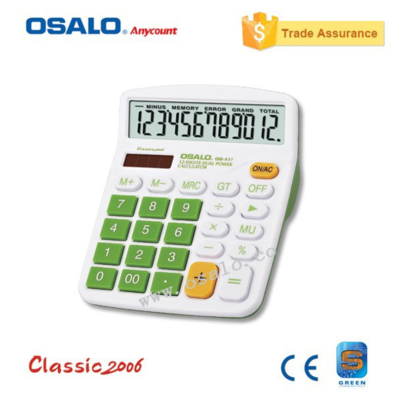 OSALO OS 837V Colorful Electronic Calculator with Big Buttons Larg Display Computer Dual Solar Power Desktop