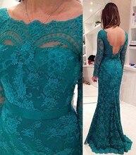 Hohe Qualität Spitze Meerjungfrau Abendkleider Öffnen Backless Long Sleeves Brautkleider bodenlangen Elegantes Abendkleid