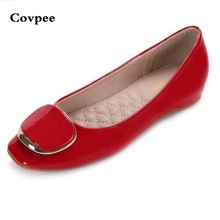 2017 new Spring Autumn summer woman Shoes with a sweet flat tip shoes casual square toe crystal fashion girl metal