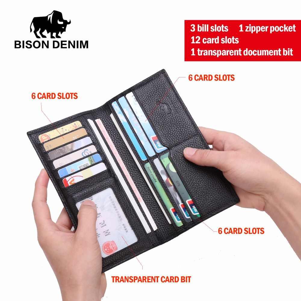 c516780a9127 ... Бизон джинсовые длинные кошелек, сумка-кошелек Бизнес Для мужчин тонкий  кожаный кошелек Элитный бренд ...