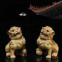 2pcs/set The Ancient Chinese wood kirin statue sculpture wood art sculpture Town House Kylin Stone lion wood Kirin