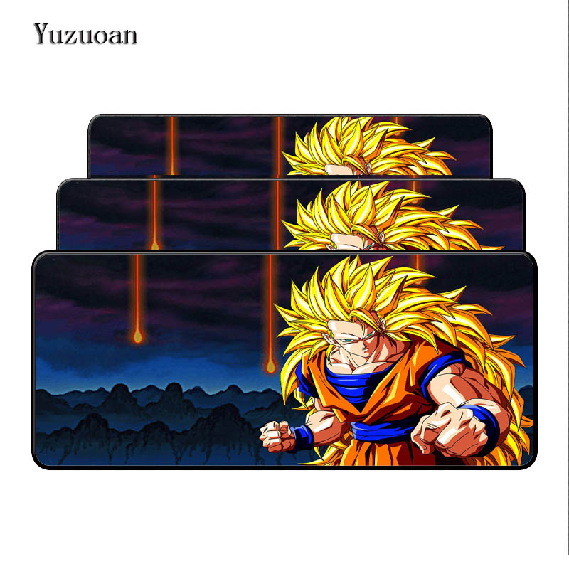 Yuzuoan Vegeta Dragon Ball Silicone Pad to Mouse Game Size for 90x40x0.4cm Gaming Mousepads Large Black Overlock Desk Mousemat