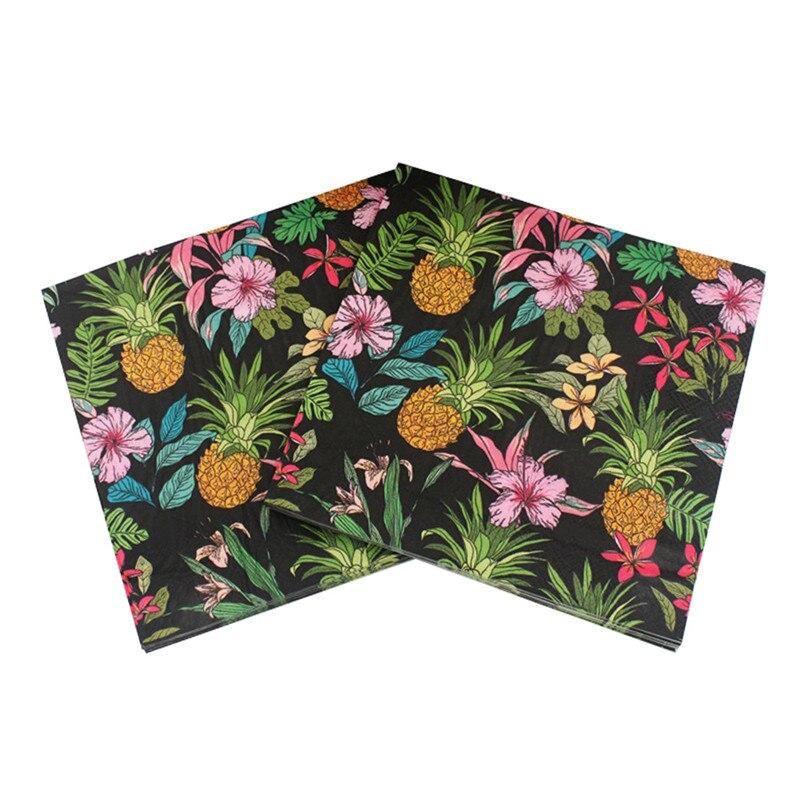 Black 20PCS Pineapple Pattern Paper Napkin 100% Virgin Wood Tissue Napkins For Bachelorette Wedding Hen Party Decoration