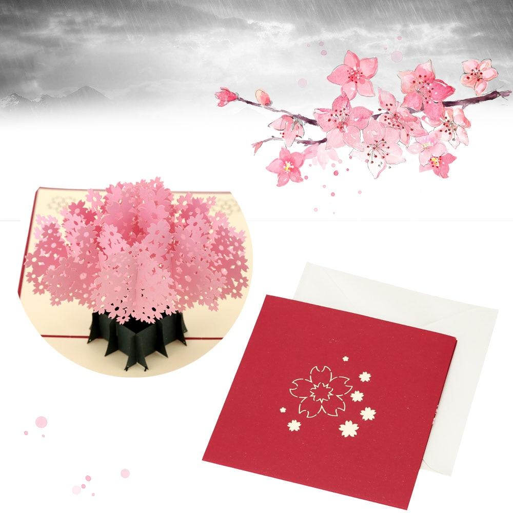 sakura design birthday wedding invitation card 3d handmade christmas new year party postcard pop up folding