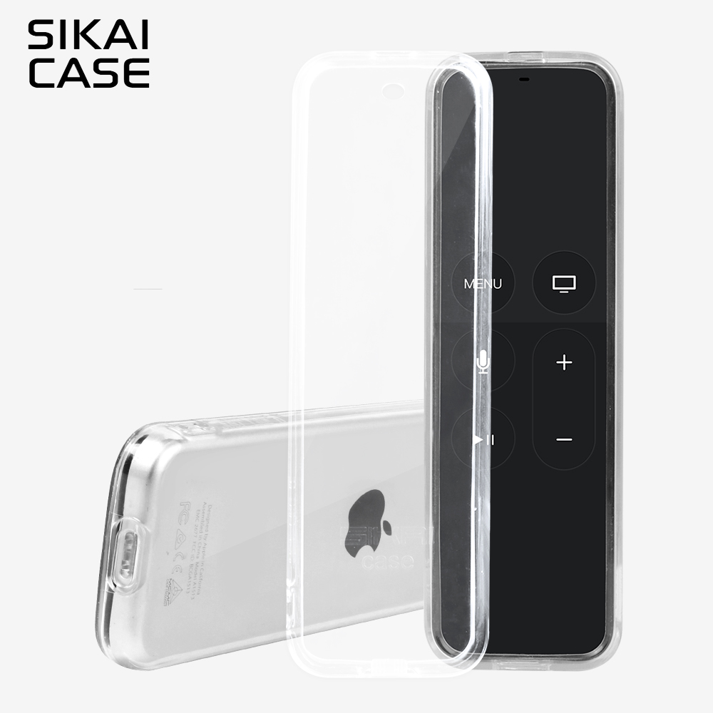 SIKAI For Apple TV 4th Remote Control Case Protective TPU Cover For Apple TV 4 Smart TV Remote Control Skin With Free Lanyard