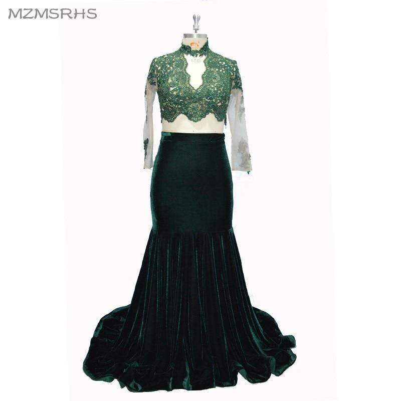 MZMSRHS Dy pjesë të rrobave prom me mëngë të gjata me aplikime - Fustane për raste të veçanta - Foto 6