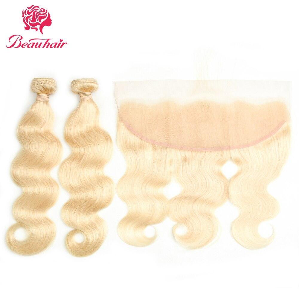 Beau волосы 613 # блондинка Средства ухода за кожей волна 2 Связки с 13*4 уха до уха Синтетический Frontal шнурка волос перуанский 100% Человеческие вол...