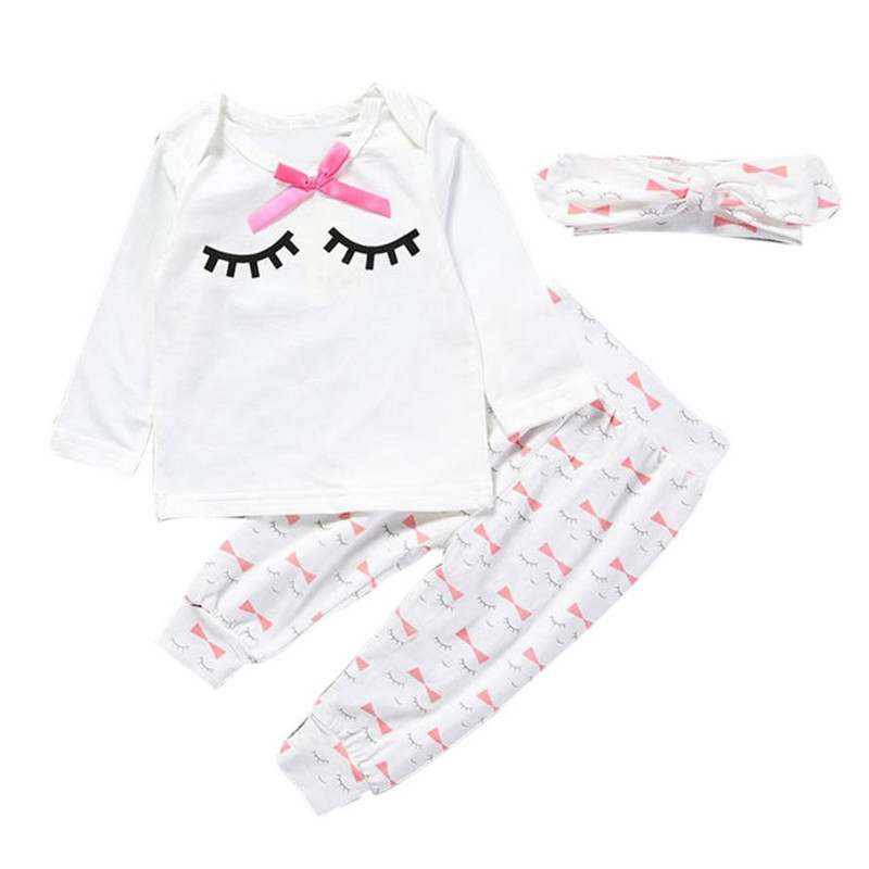 SALE Clothes for GIRLS Newborn Infant Baby Girl Eyelash T shirt Tops + Pants + Headband Outfits Clothes SetS Baby Clothing