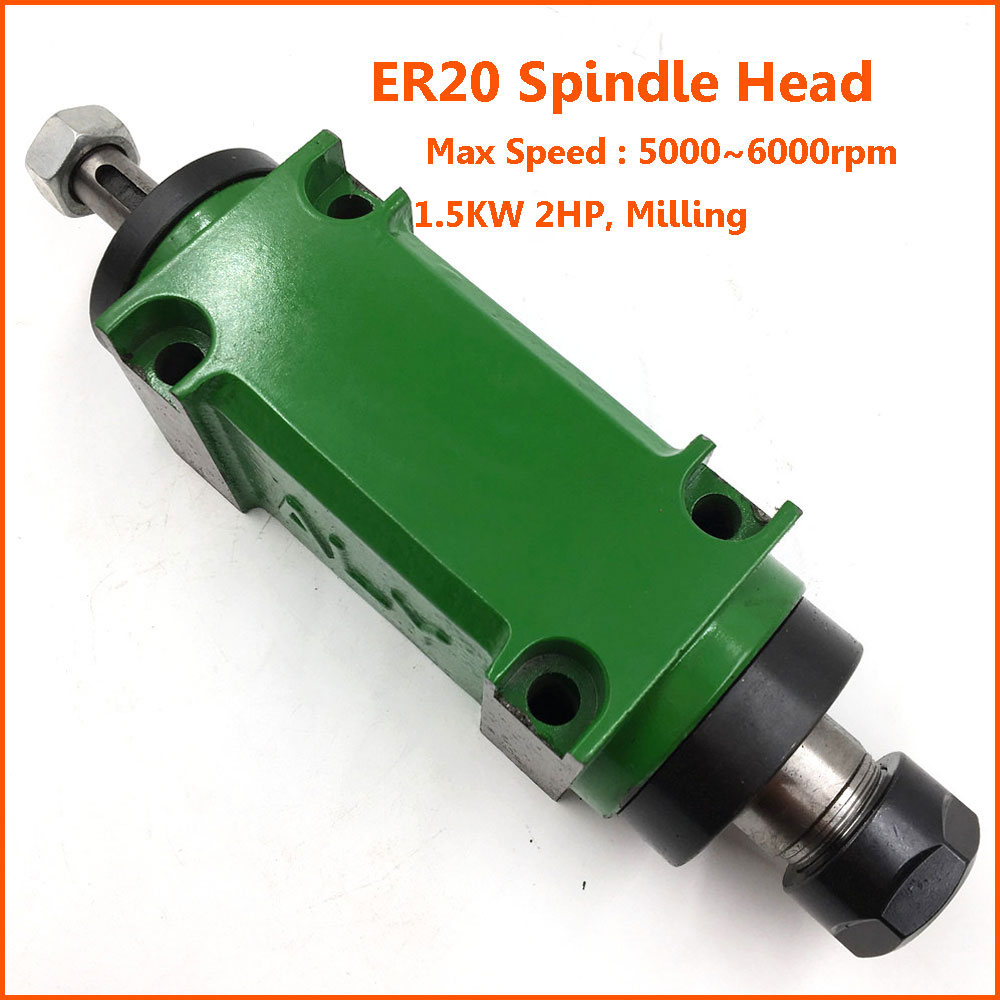 2HP 1 5KW Milling Spindle Head ER20 Power Head Unit 80mm 5pc Bearing 5000 6000rpm for