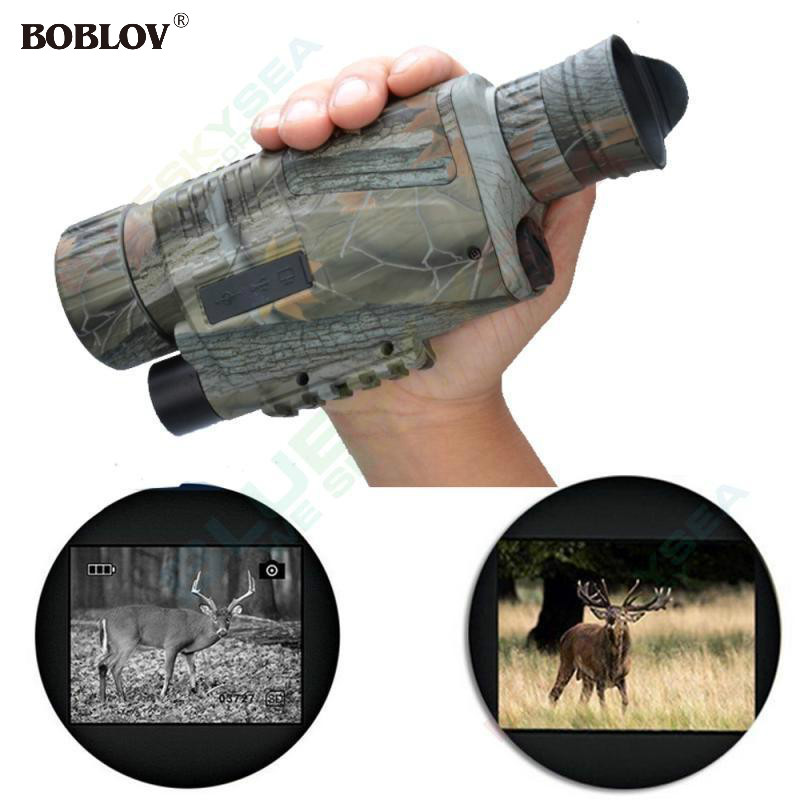 BOBLOV WG-37 5X40 Night Vision Goggles Monocular Security Camera IR Monocular 200m Range Binoculars For Hunting Takes Photos+8GB