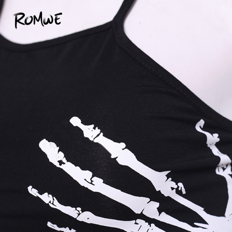 a5cb216e814f6f ROMWE Skeleton Hand Print Crop Top Camisole Women Black Lace Up Summer Cami  Tops Fashion Casual Holiday Sexy Short Camisole-in Camis from Women s  Clothing ...