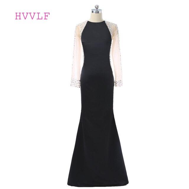 Black Prom Dress 2018 Mermaid High Collar Long Sleeves Crystals See