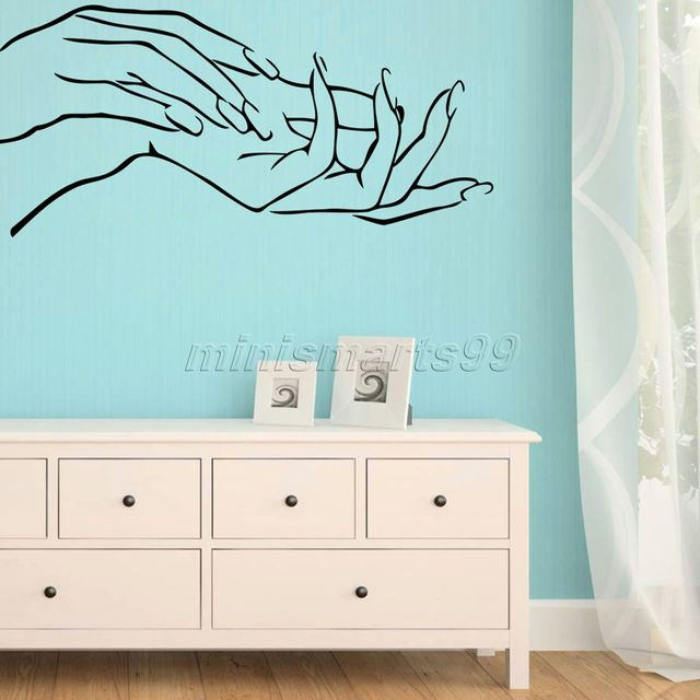 D Girl Nail Art Hands Beauty Shop Business Elegant Finger Vinyl - Vinyl wall decals business