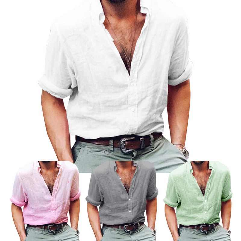 ef9487e9591 Plus Size Men Linen Yoga Shirt Button Mens Tunic Shirts White Solid Long  Sleeve V Neck White Shirt Loose Gym Fitness Clothing