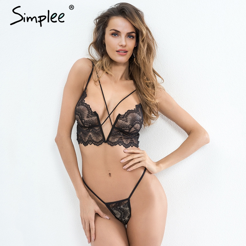c0b406941d5 Simplee Sexy transparent intimates bra sets Adjustable strap lace bra women  lingerie Victoria bralette set underwear