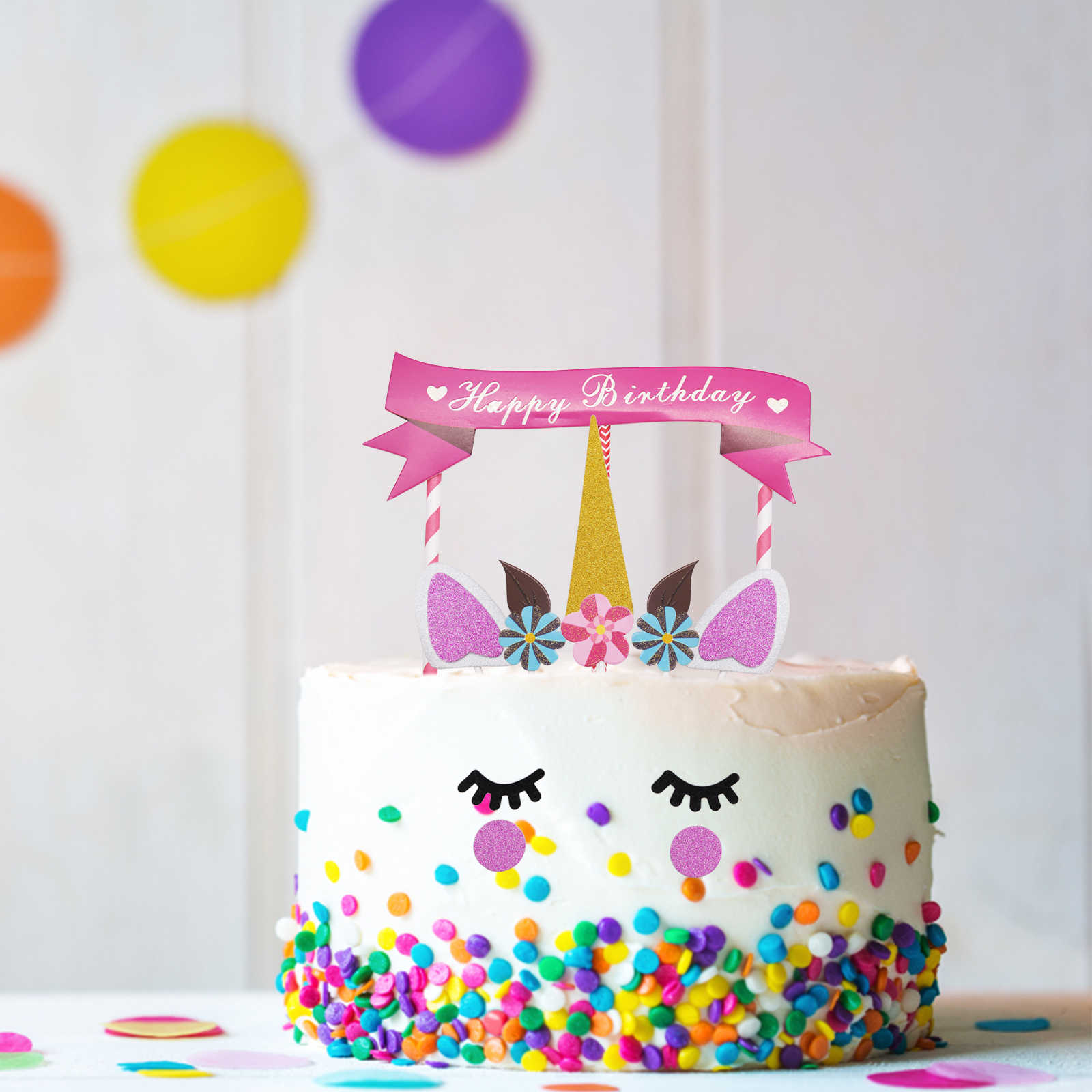 New 1set Unicorn Birthday Cake Decorations Set Horns Topper Kids Decorative Party Decor