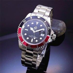 Image 2 - Luksusowe Hk korona marka mężczyźni zegar obrotowy Bezel GMT Sapphire data stalowo złoty sport niebieska tarcza kwarcowy zegarek wojskowy Reloj Hombre