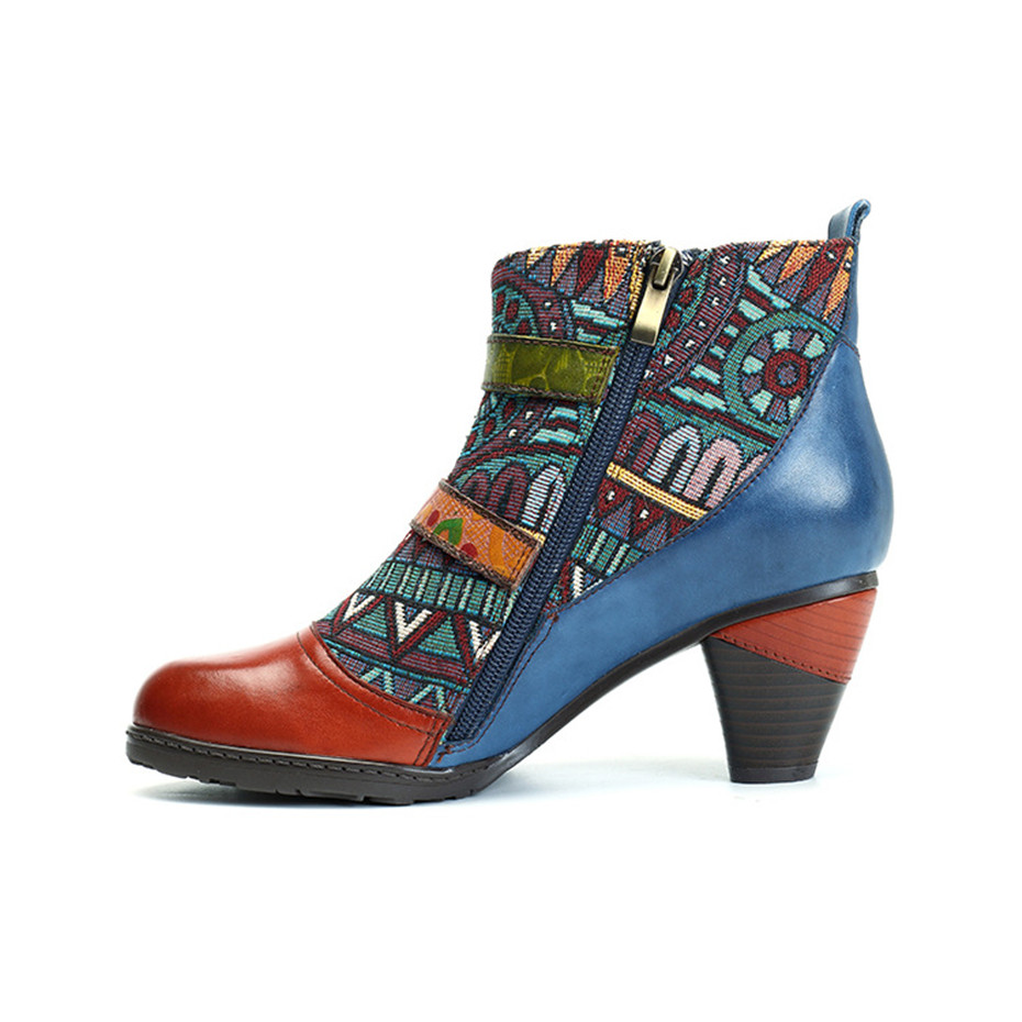 D Knight Brand Plus Size Women Ankle Boots Vintage Patchwork Female Short Boots Fashion Side Zip Print Buckle Lady Shoes Booties (14)