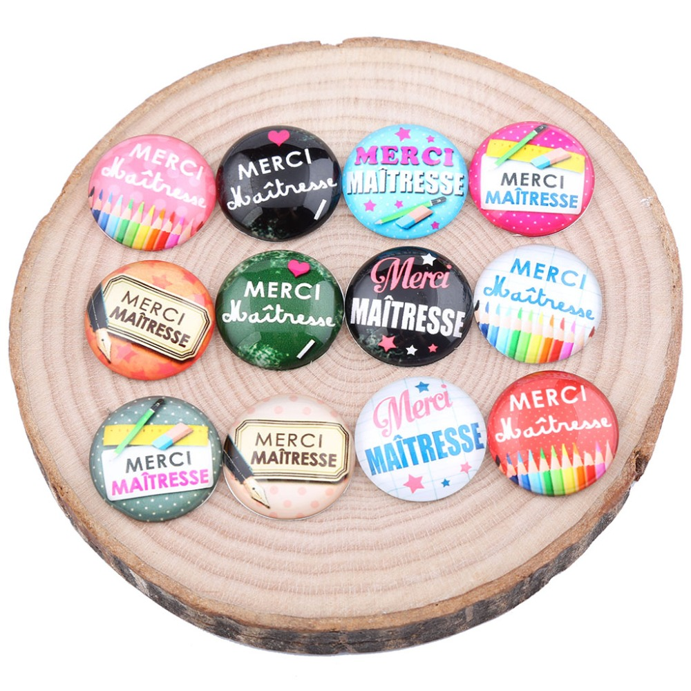 Onwear 20pcs Mix Merci Maitresse Photo Glass Cabochon 20mm 25mm Round Dome Diy Jewelry Findings For Pendants Necklace