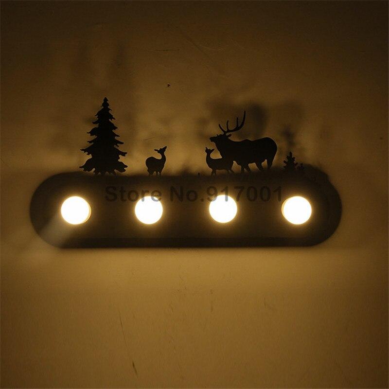 Американский стиль Лофт Промышленные металлические СВЕТОДИОДНЫЙ настенная лампа для ресторанов и спален пони олень Санта Клаус ветряная м... - 2