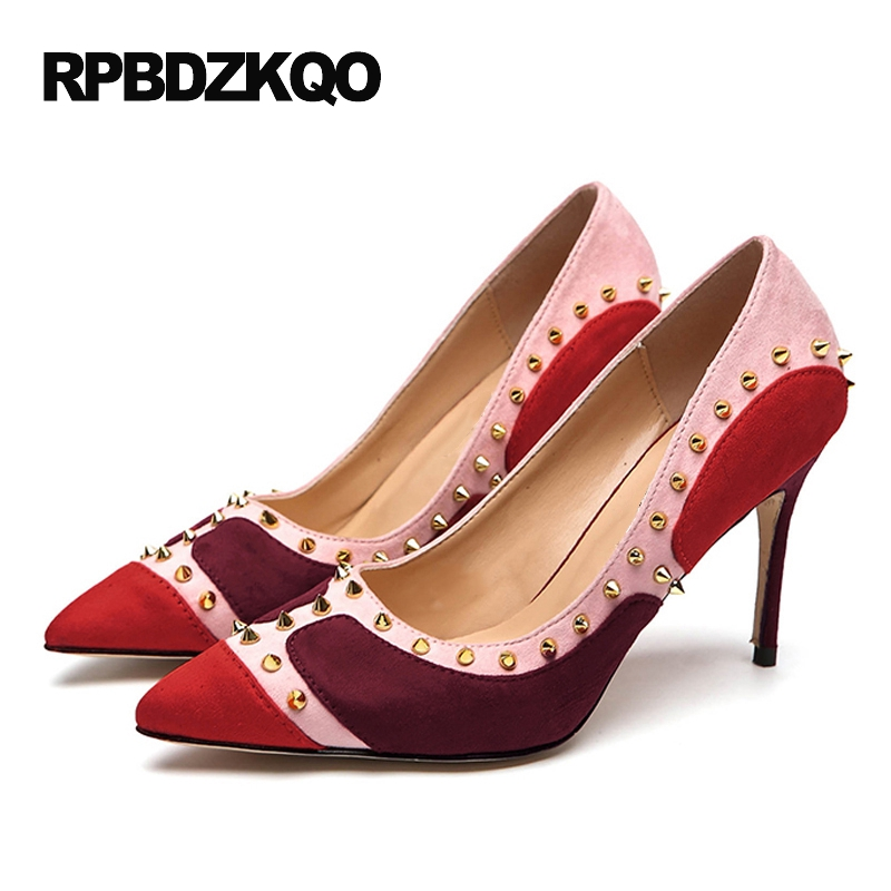 Women Rivet Pointed Toe 9 40 Pumps Wine Red Shoes 41 6cm 2 Inch Multi  Colored Celebrity High Heels Famous 33 Scarpin Quality 8d1012509