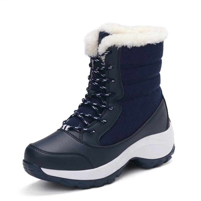 Encaje Botas white Caliente Zapatos Piel Para Invierno Gamuza Black Plantilla 2018 La blue De Nieve Mujer Clásico 4nUxTdaO