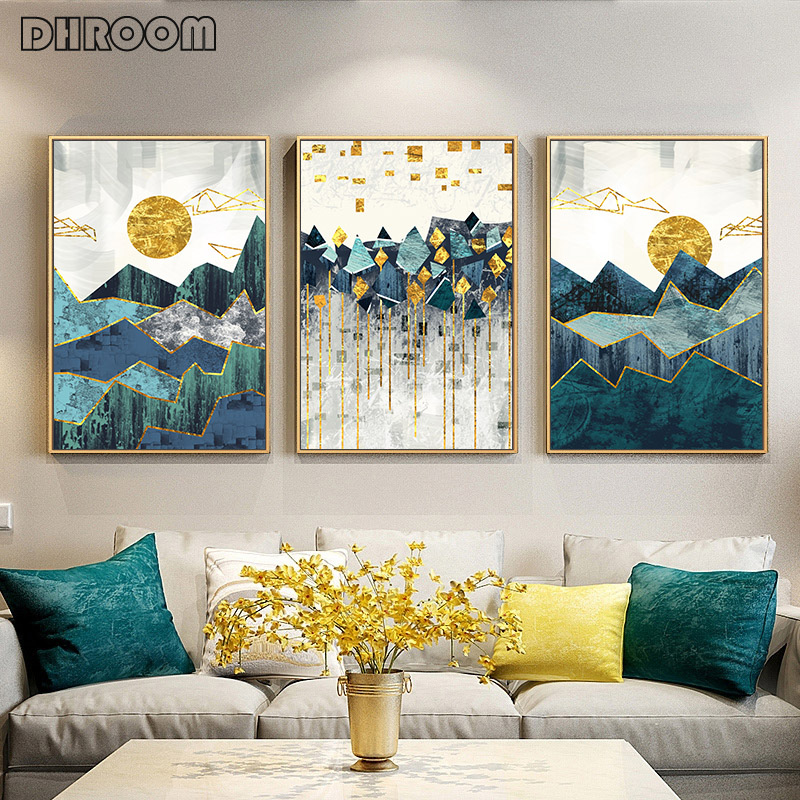 Nordic Abstract Wall Art Geometric Mountain Landscape Canvas Painting Golden Sun Art Poster Print Wall Picture For Living Room