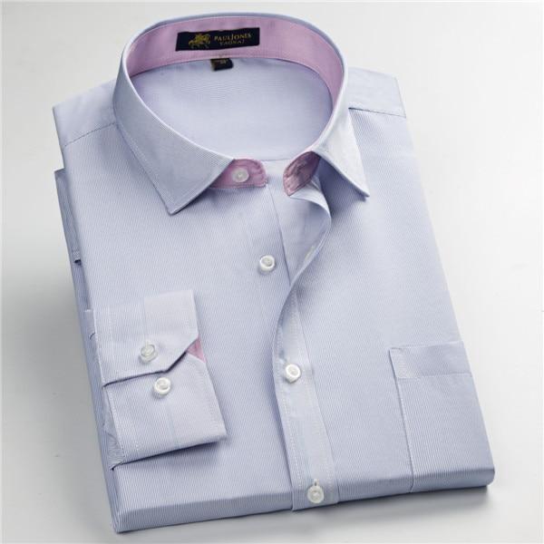 Pauljones 57xx дешевый воротник дизайн с длинными рукавами для мужчин s полосатые рубашки Повседневное платье Мужская рубашка в клетку Высококачественная Мужская одежда - Цвет: 5730